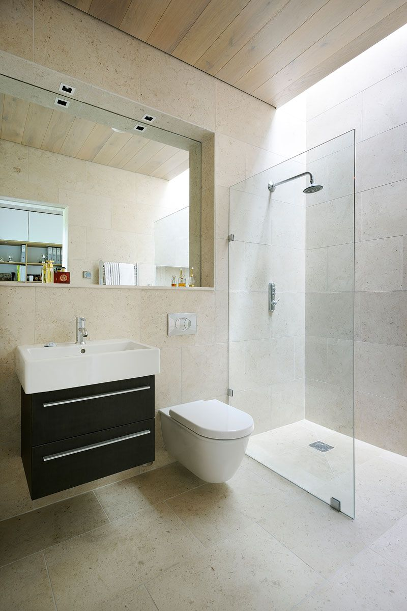 Sustainable mobile home in UK bathroom shower