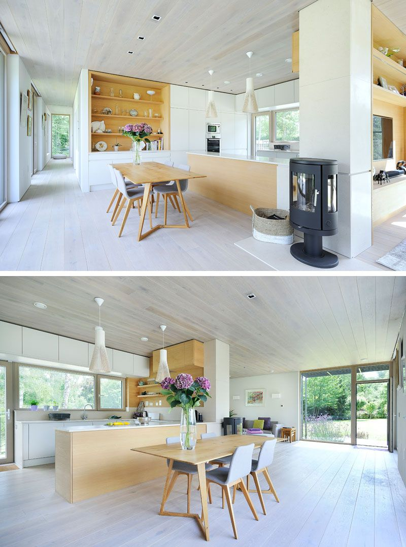 Sustainable mobile home in UK dining room and kitchen