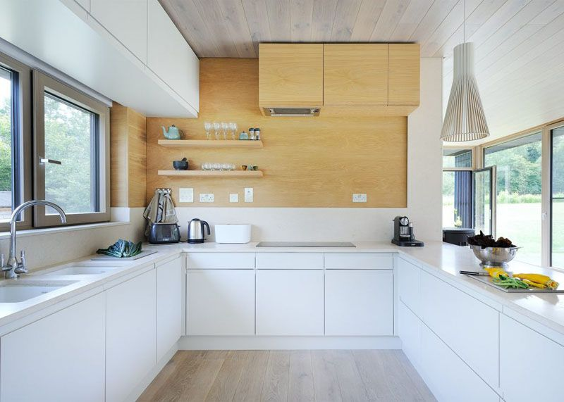 Sustainable mobile home in UK kitchen u shape