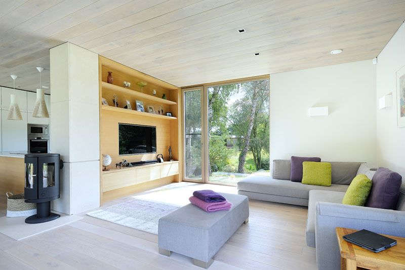 Sustainable mobile home in UK living room sofa