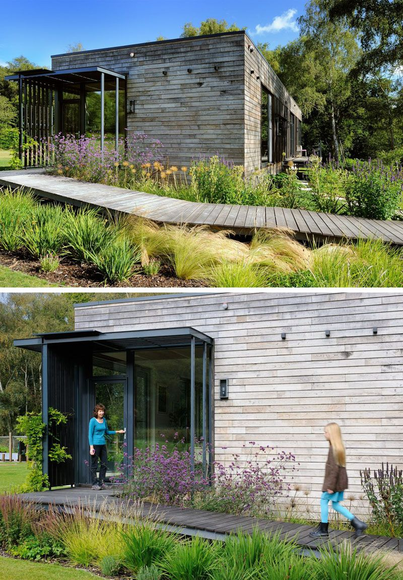 Sustainable mobile home in UK wooden exterior