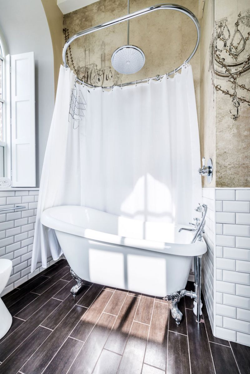 The Chapel holiday cottage tub shower curtain
