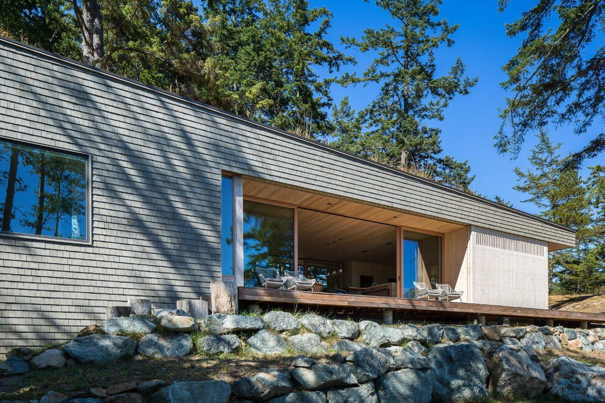 The Lone Madrone retreat deck on rocks