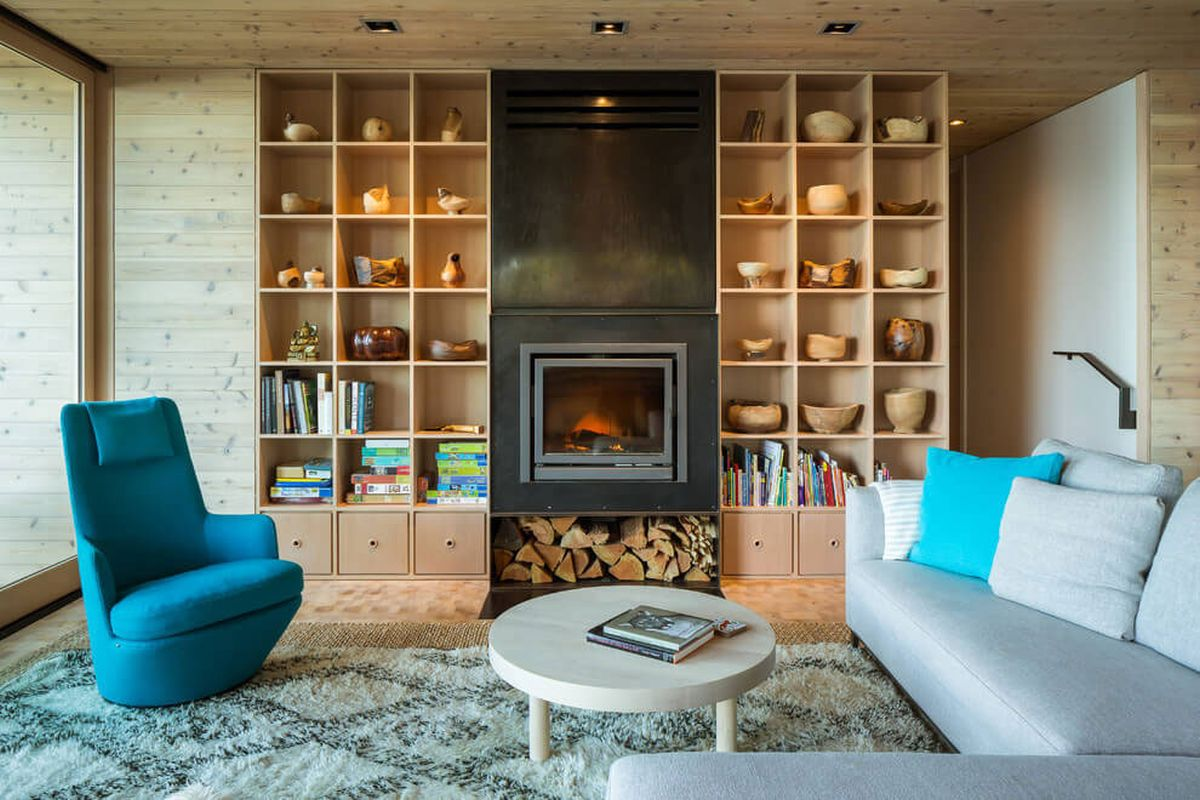 The Lone Madrone retreat living room turquoise accents