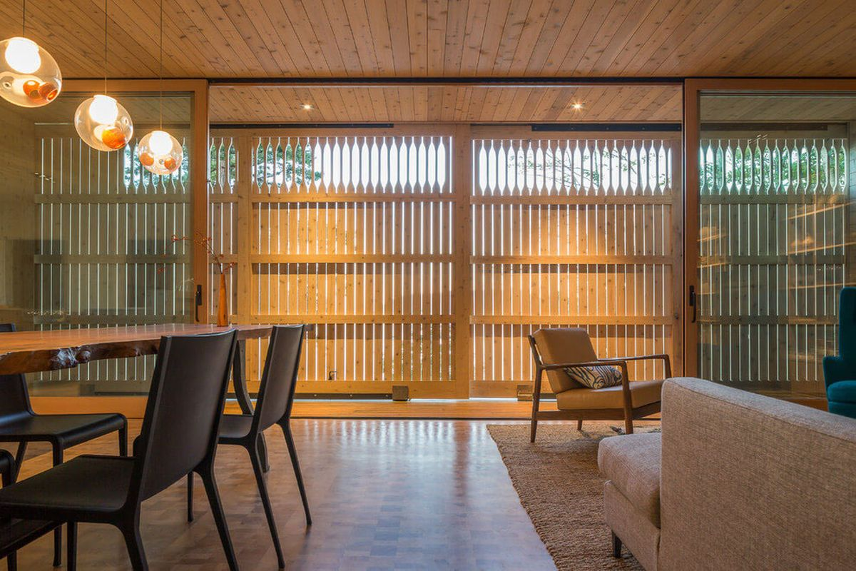The Lone Madrone retreat social area closed off panels