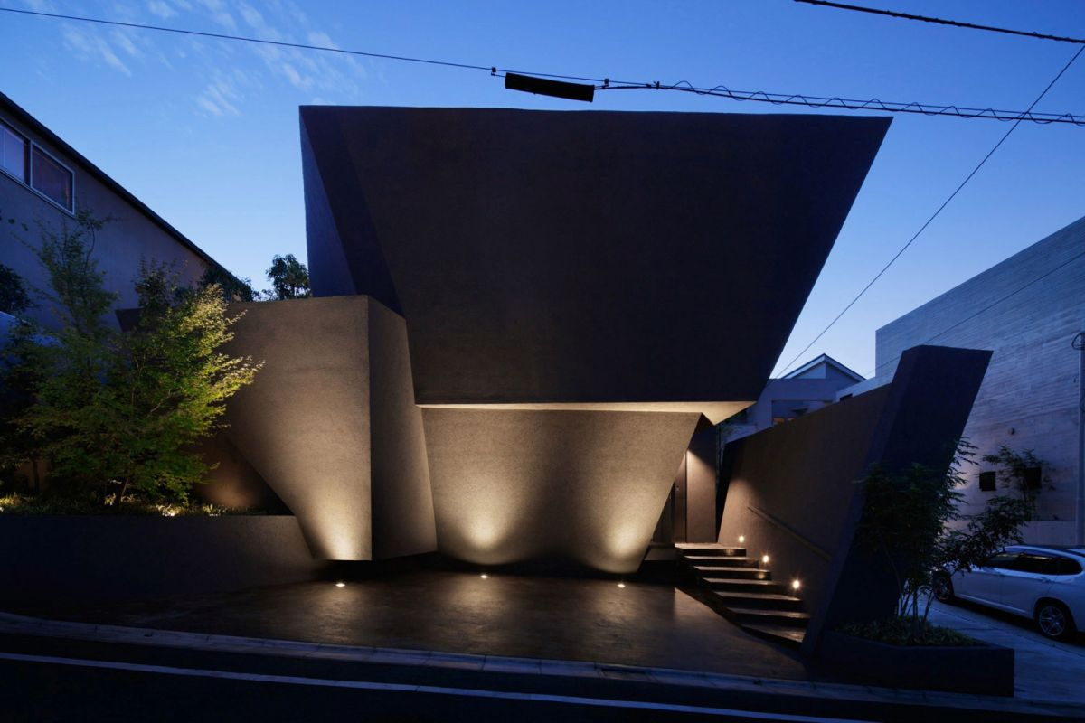 The SRK residence in Tokyo features outdoor accent lighting