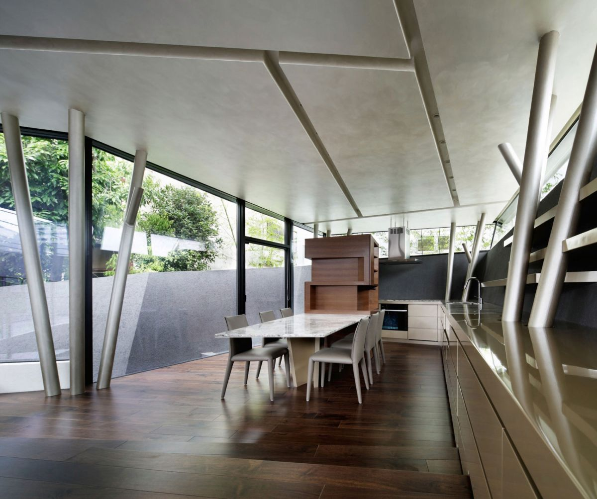 The SRK residence in Tokyo features wooden floors and neutral colors