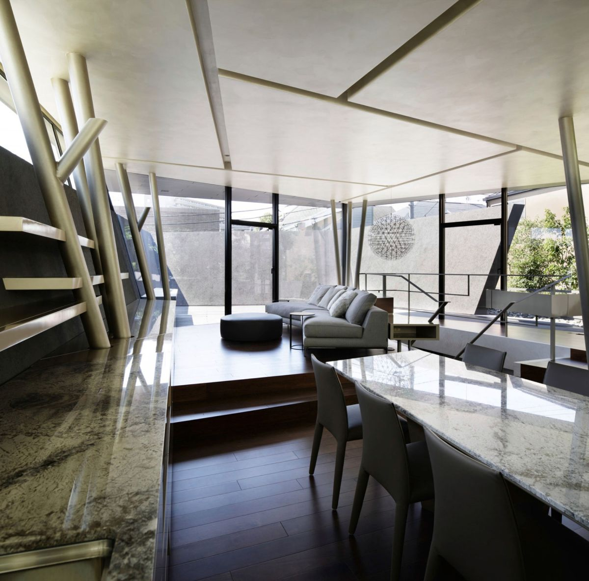 The SRK residence in Tokyo maintains a sculptural decor throughout