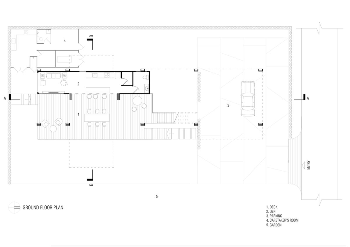The ground floor has a particularly close connection with the outdoors and this is reflected in the floor plan
