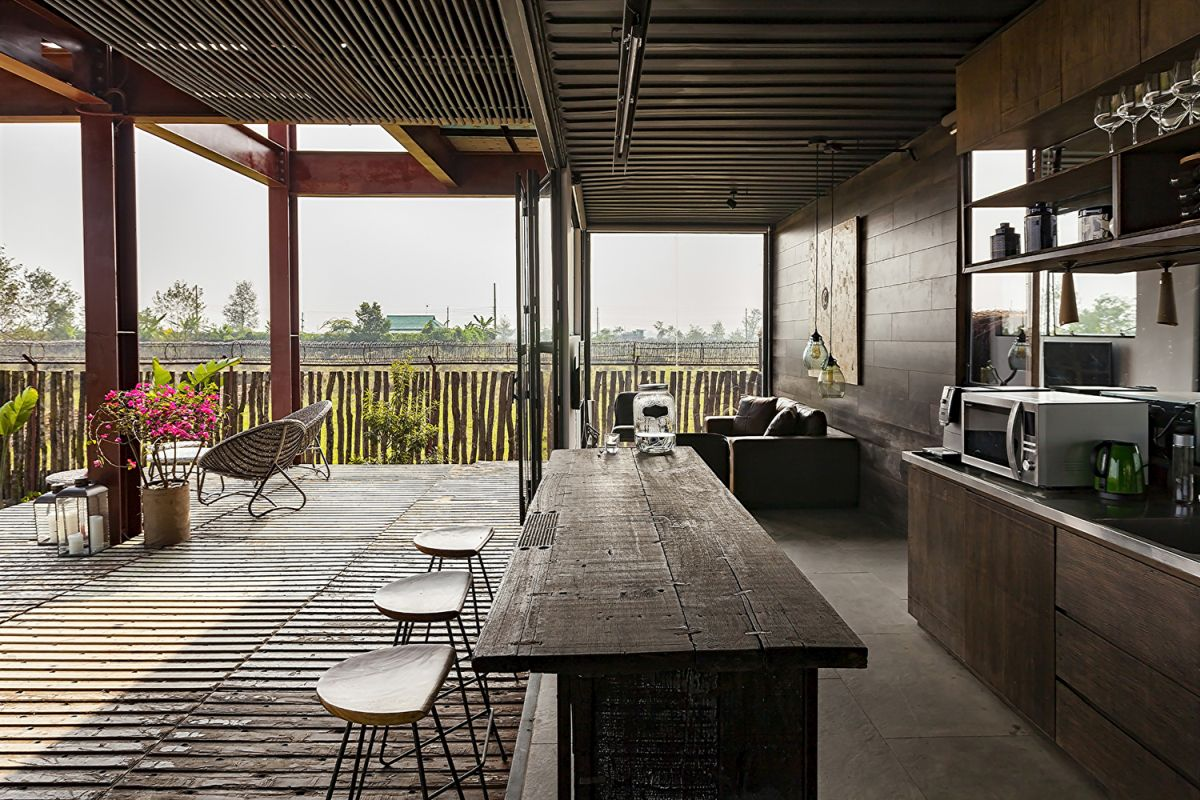 The architects emphasized the use of reclaimed materials throughout the interior and exterior design of the house