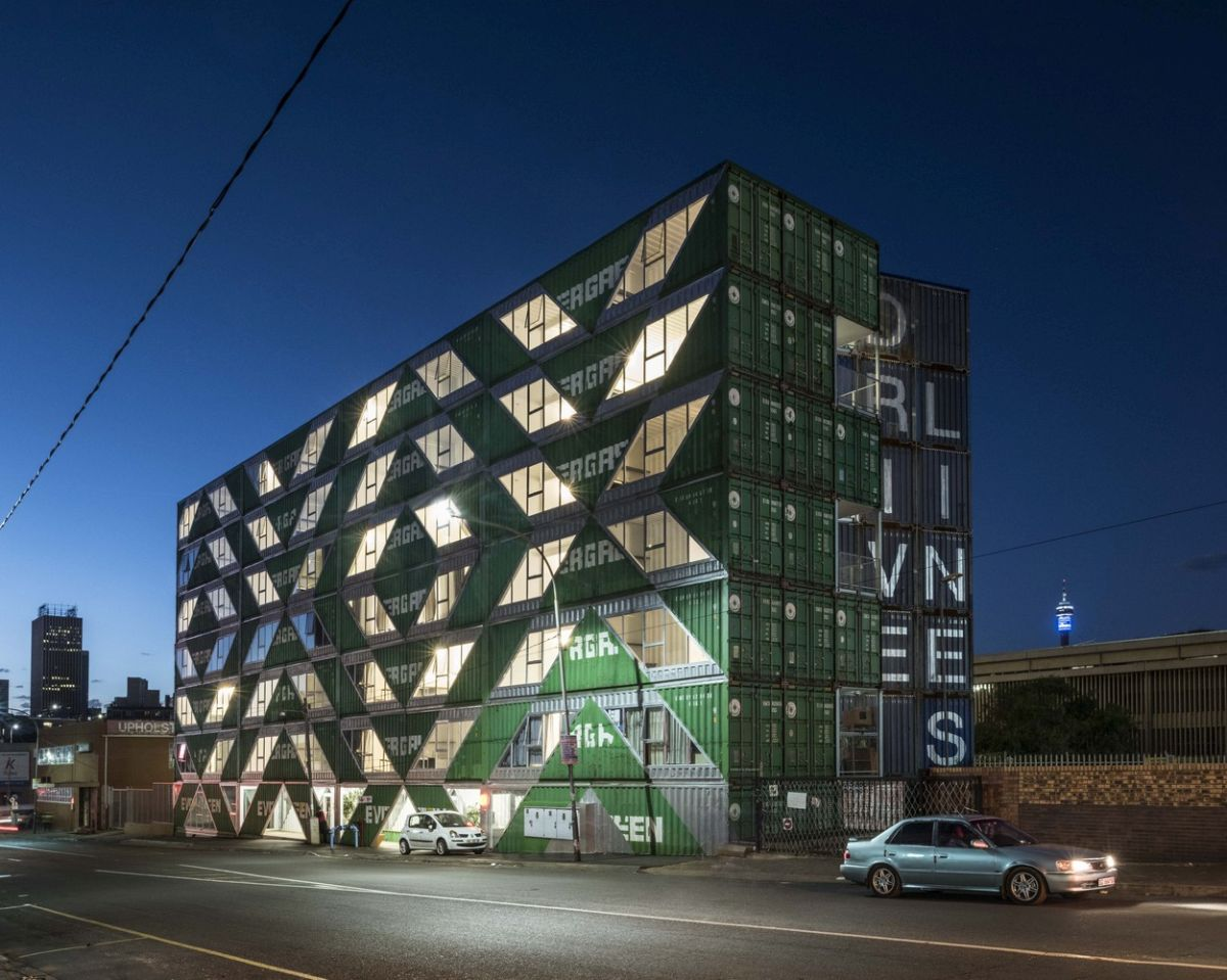 This shipping container residential buildings helps to revitalize and repopulate the city's downtown area