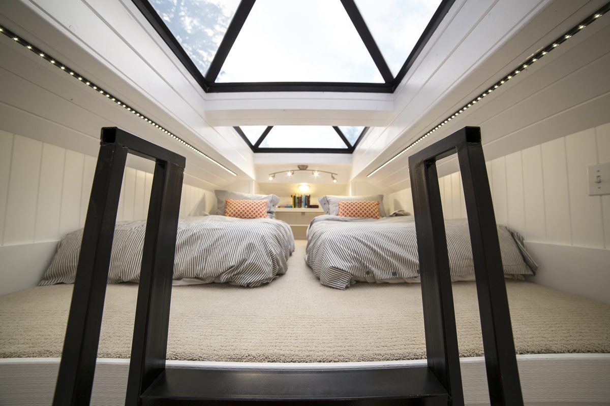 The loft has twin beds which can be pushed together and LED bands on the sides