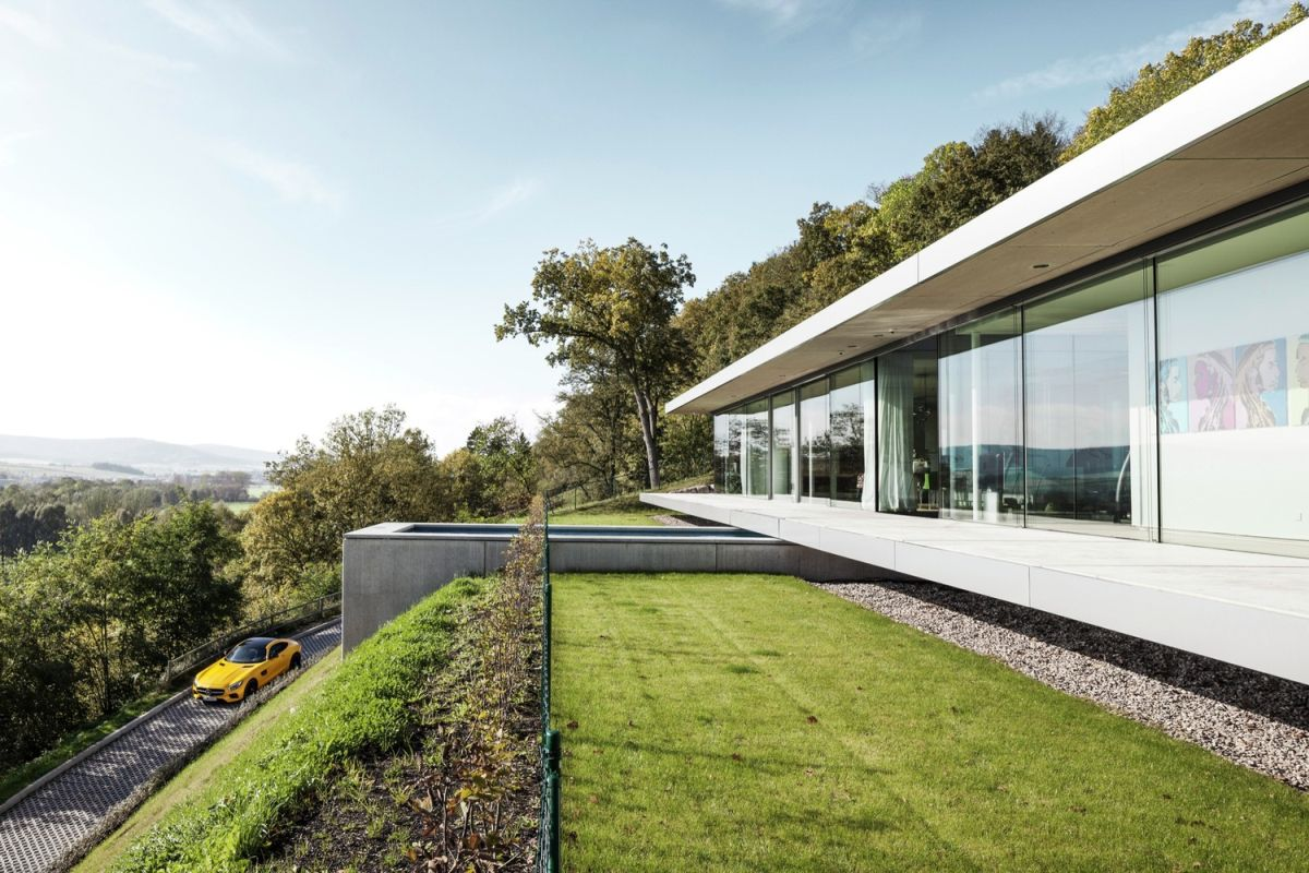 Villa K in Germany driveway and views of the valley