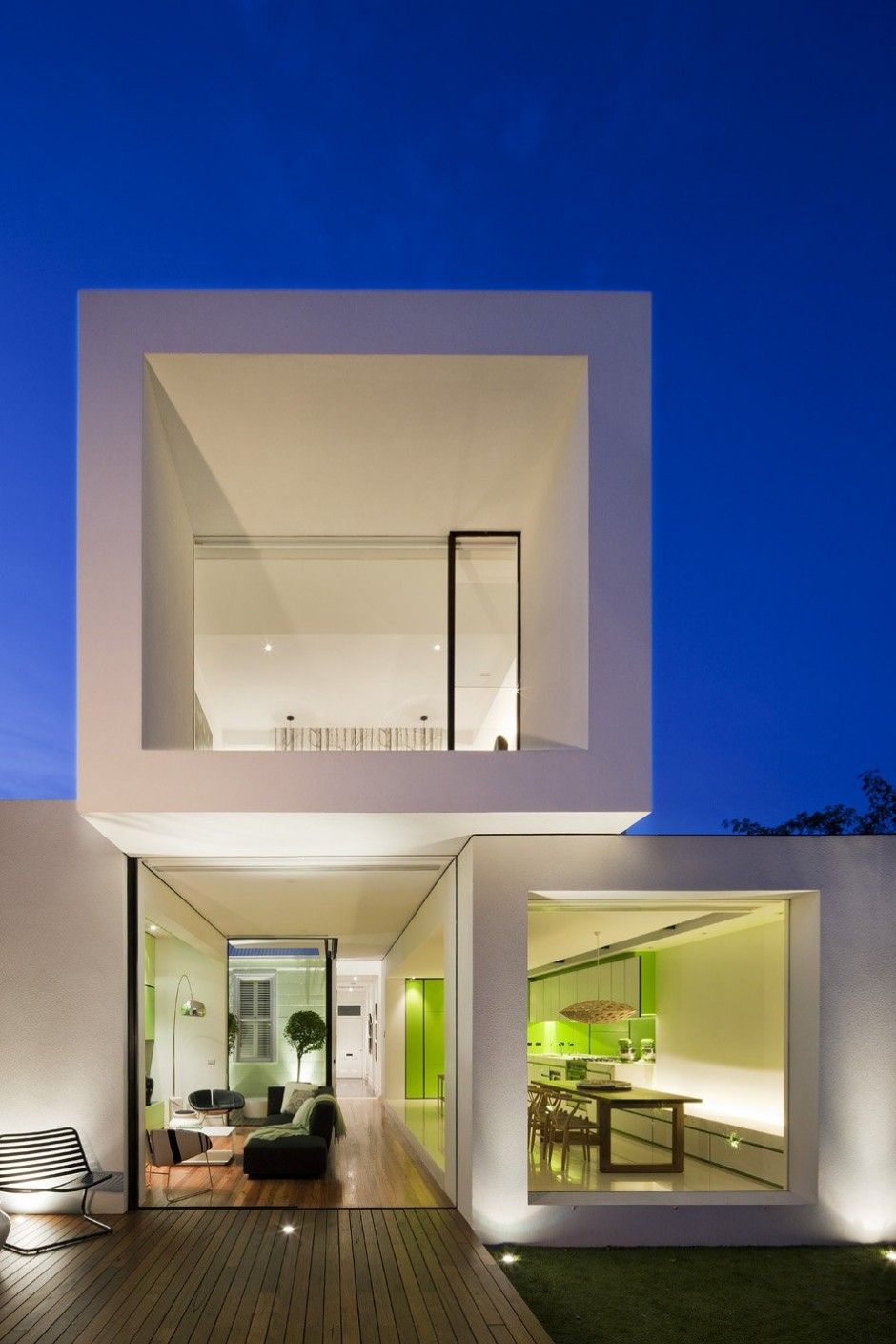 White stacked volumes for a house by Shakin Stevens House Decor