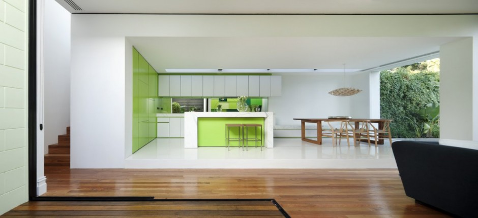 White stacked volumes for a house by Shakin Stevens House Kitchenn