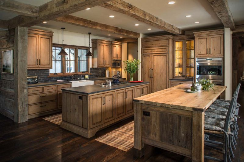 Woodland chalet in Idaho kitchen and dining