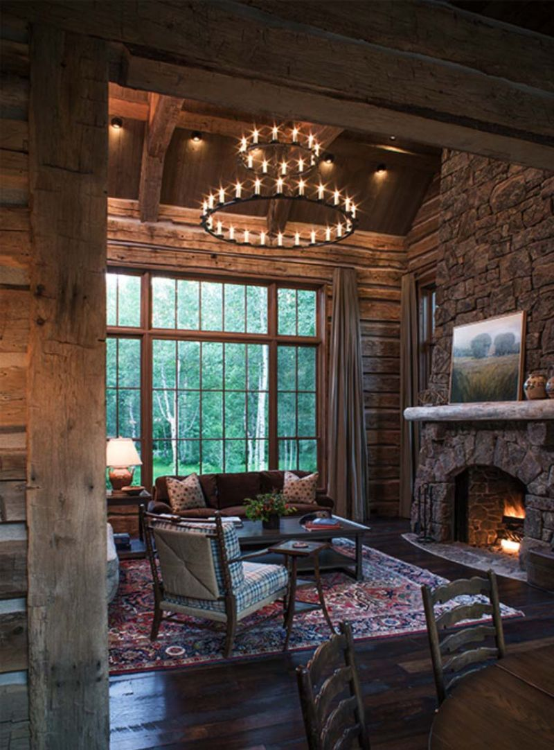 Woodland chalet in Idaho living room fireplace