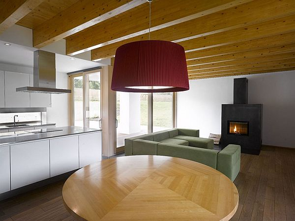Modern family House fireplace dining room