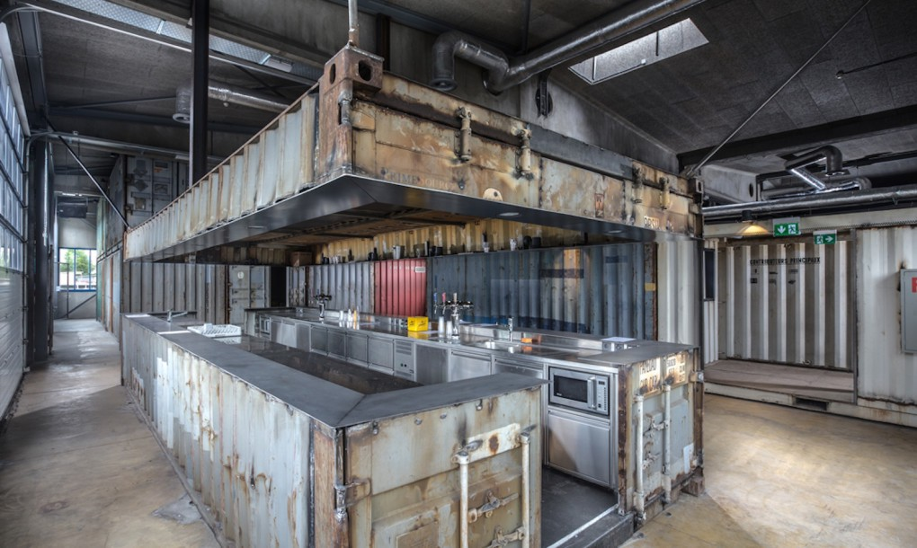 old shipping containers into an edgy concert hall bar