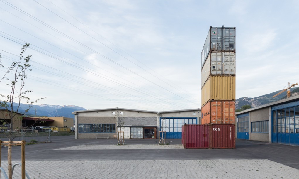 old shipping containers into an edgy concert hall outside view