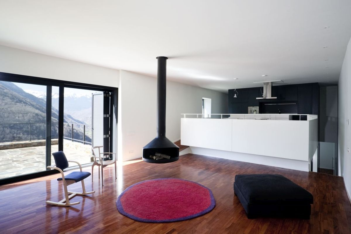 pyrenees home for two ceiling fireplace