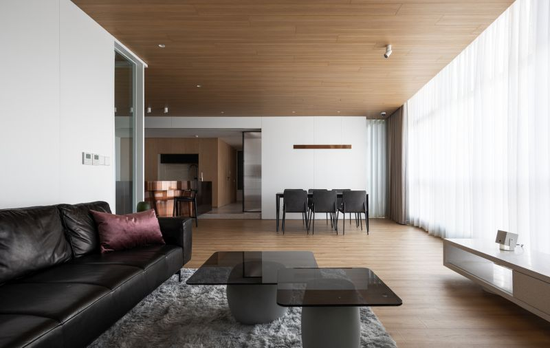 The living room, dining area and the kitchen were also combined into a big space with a great view