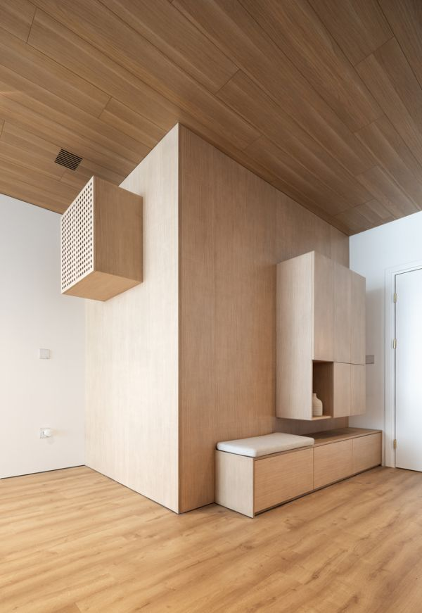 The furniture was custom made and that allows it to fit perfectly into the design