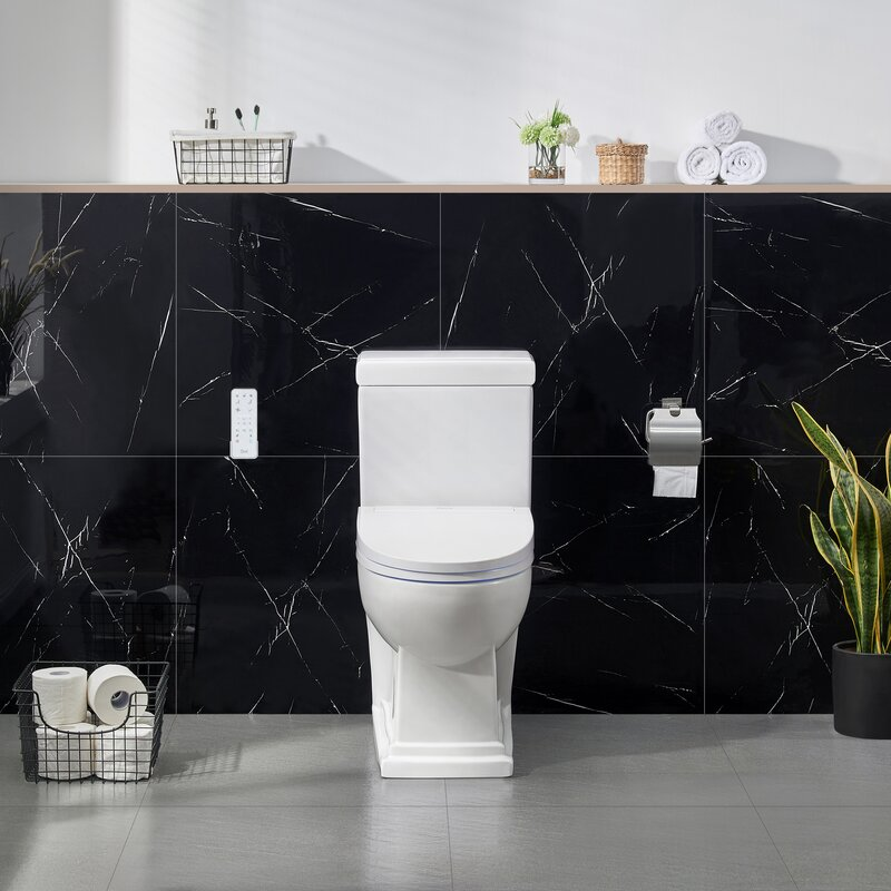 Ove decors dual flush elongated two piece toilet seat included