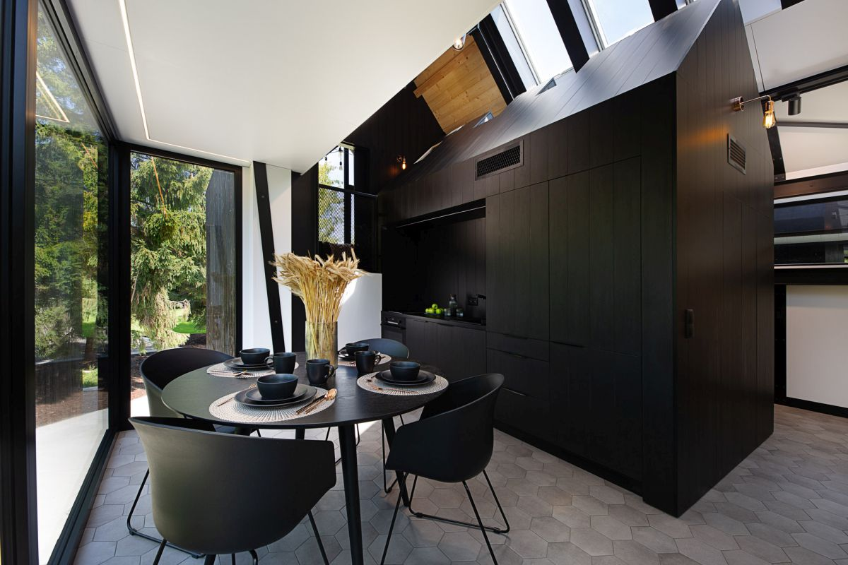 The kitchen looks like a miniature version of the house, all black and with its own pitchef roof