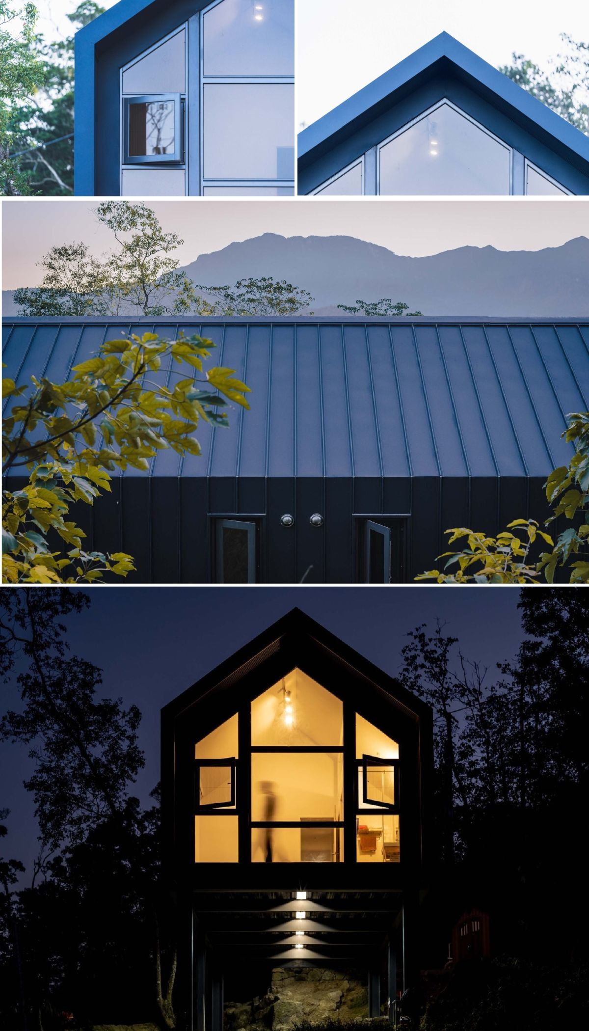 The double pitched roof gives the house a cute look while also being practical in this climate