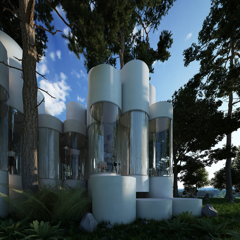 This is an entire house made of this sort of cylinders. It's still in the concept stage