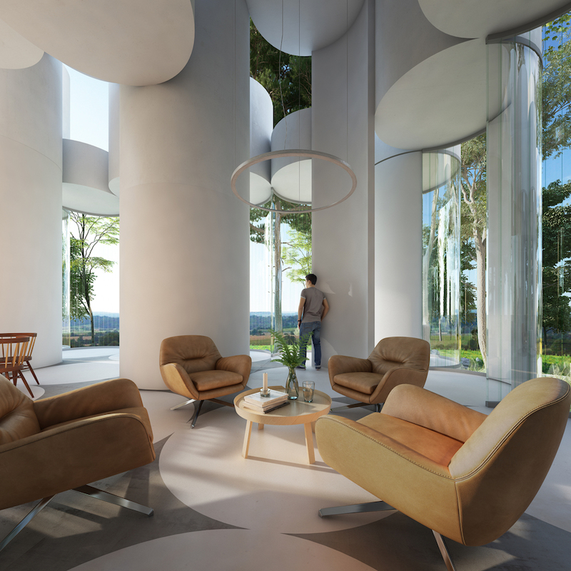 The interior can be easily reconfigured by rearranging the furniture with no structural modifications needed