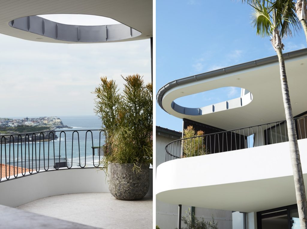 The open balcony on the top floor has an amazing view of the ocean