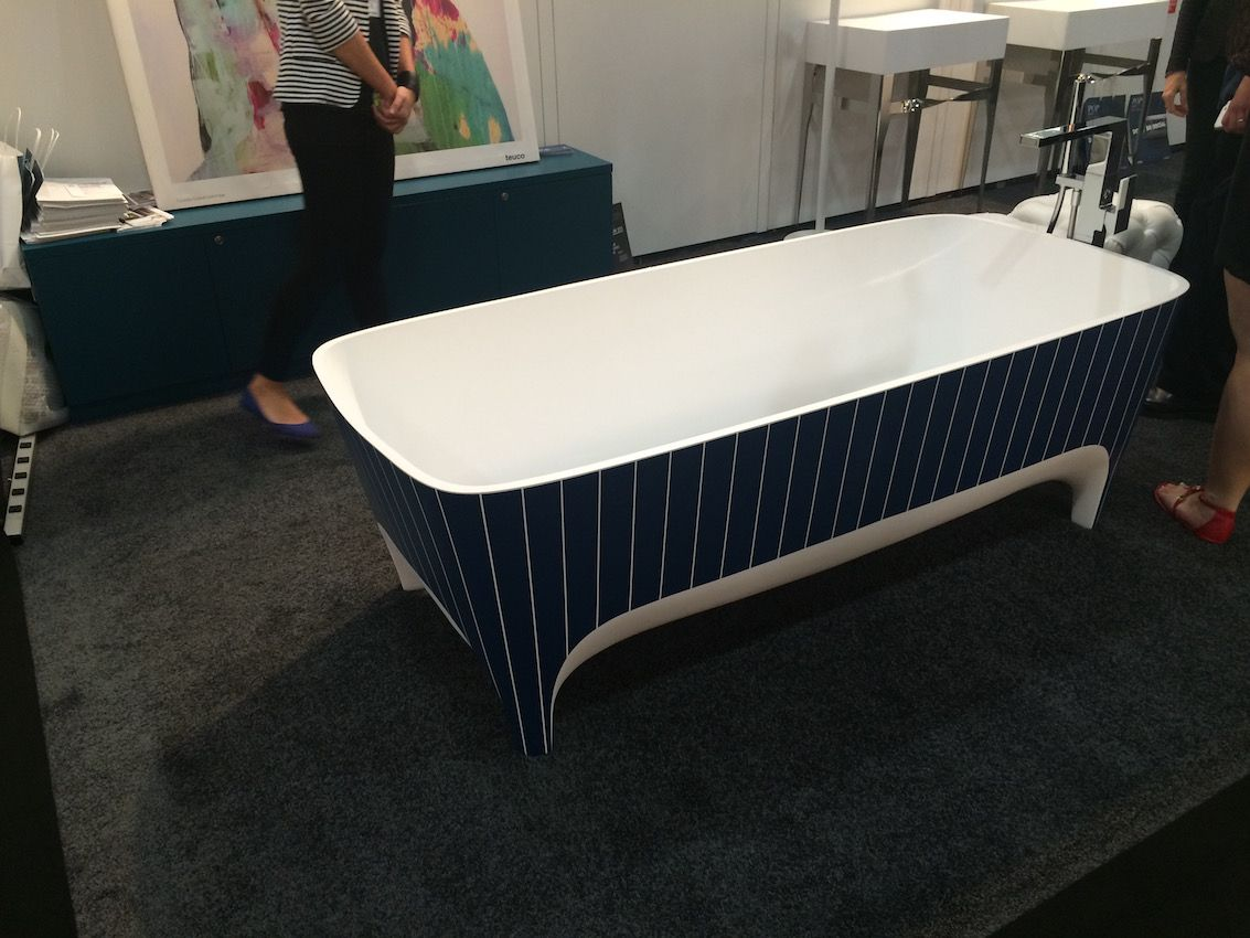 Another Limited Edition Academia tub by Teuco, this time in a navy blue pin-stripe.