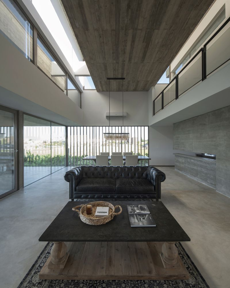 A series of skylights offer indirect sunlight for the living areas