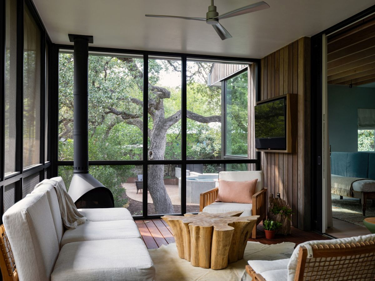 One of the windows frames a gorgeous tree with a sculptural trunk