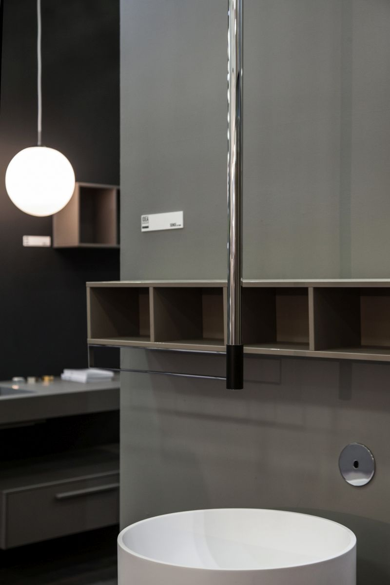 Bathroom wall small boxes shelves with towel storage