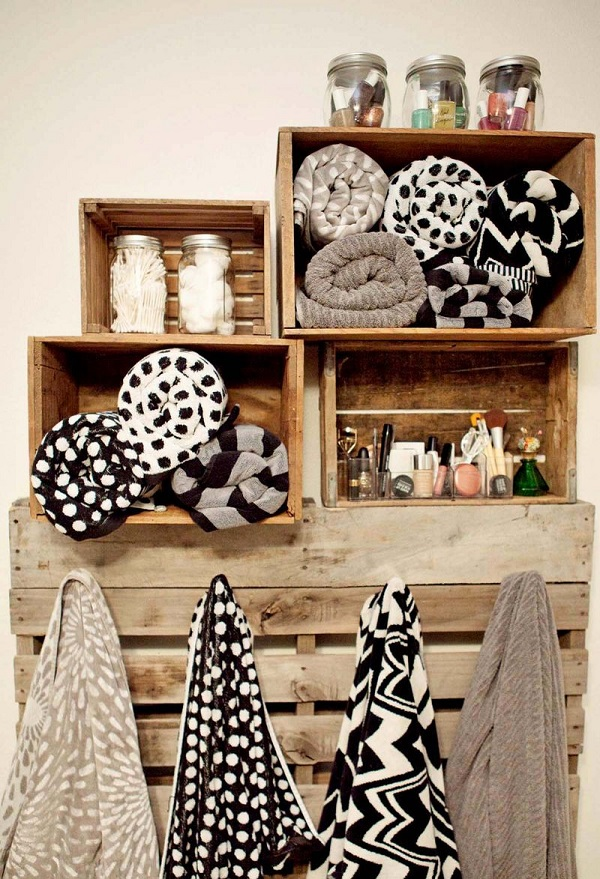 Bathroom wooden storage from crates