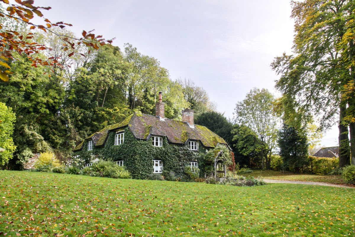 The existing cottage has an 'L' plan and the extension sits in the gap
