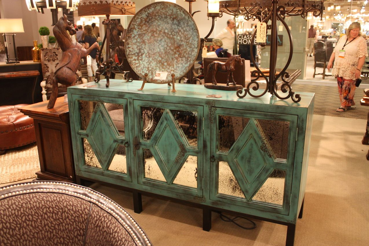 This design gives us an idea: you could cut out mirror sections and use them to give an old cabinet a makeover