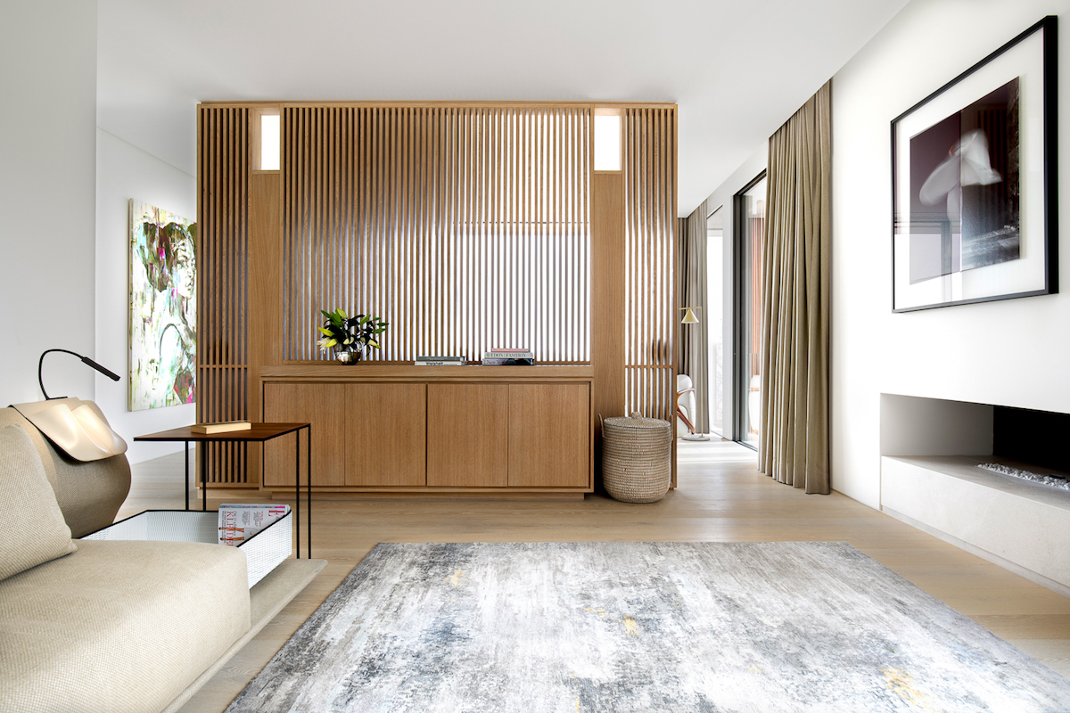 The interior design of the residence is defined by an array of neutral colors and a multitude of textures