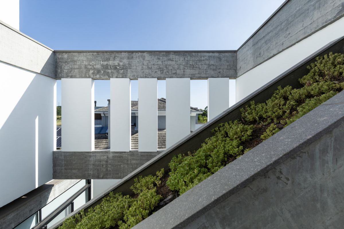 Two inner courtyards help to delineate the internal sections of the building