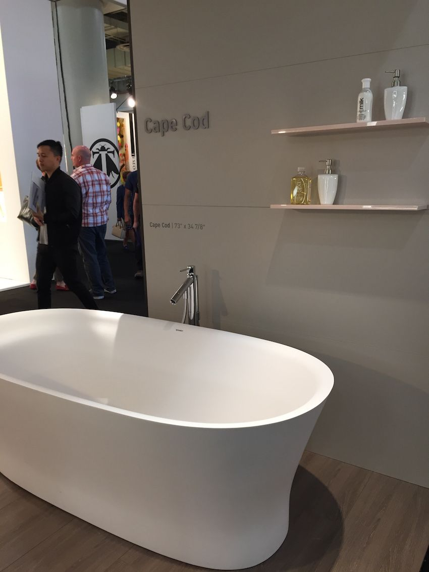 One of our favorite piece in the Cape Cod collection is the tub. It features an optional shaped headrest, which enhances the comfort. They are made from a new material called durasolid, which has a warm 'feel,' We love the matte look. It comes in a free-standing model, back-to-wall and corner version.