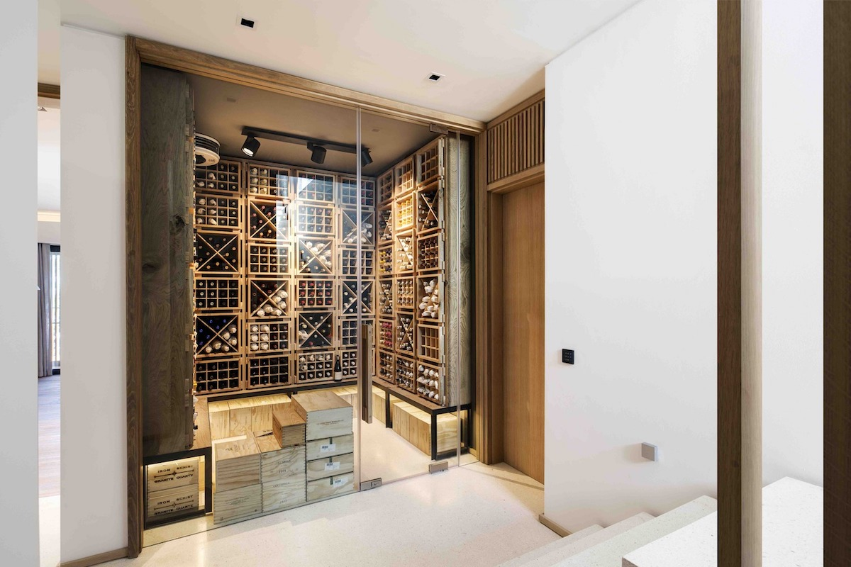 There's a separate space that serves as a wine cellar. It has racks all the way up to the ceiling