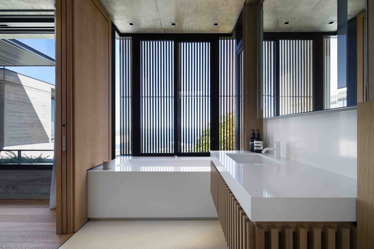The shutter screens let some light filter through and also frame views of the surroundings
