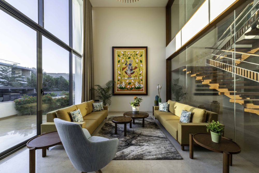 This double-height lounge area has one of the best views in the house