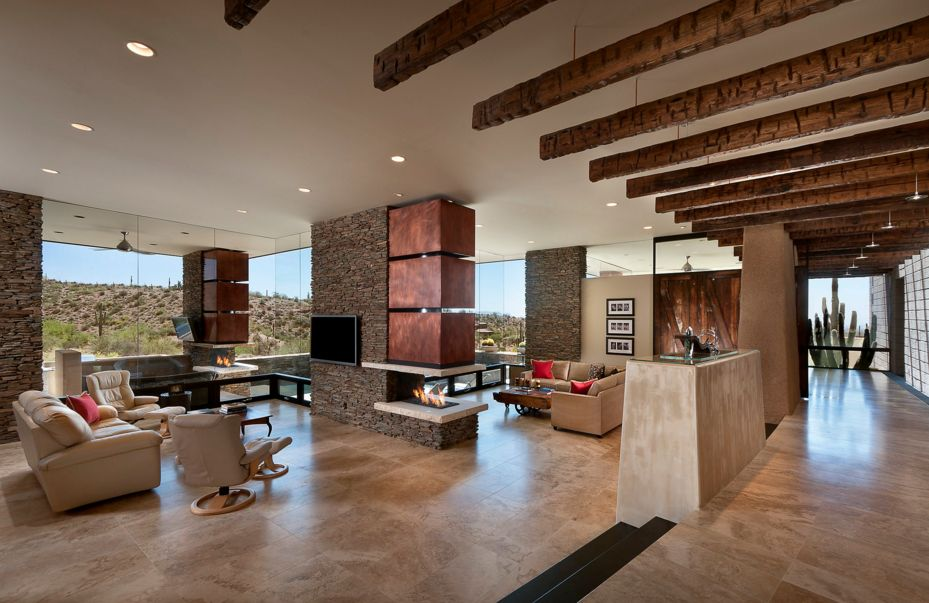 Exposed brick fireplaces are particularly charming, giving the space a rustic feel
