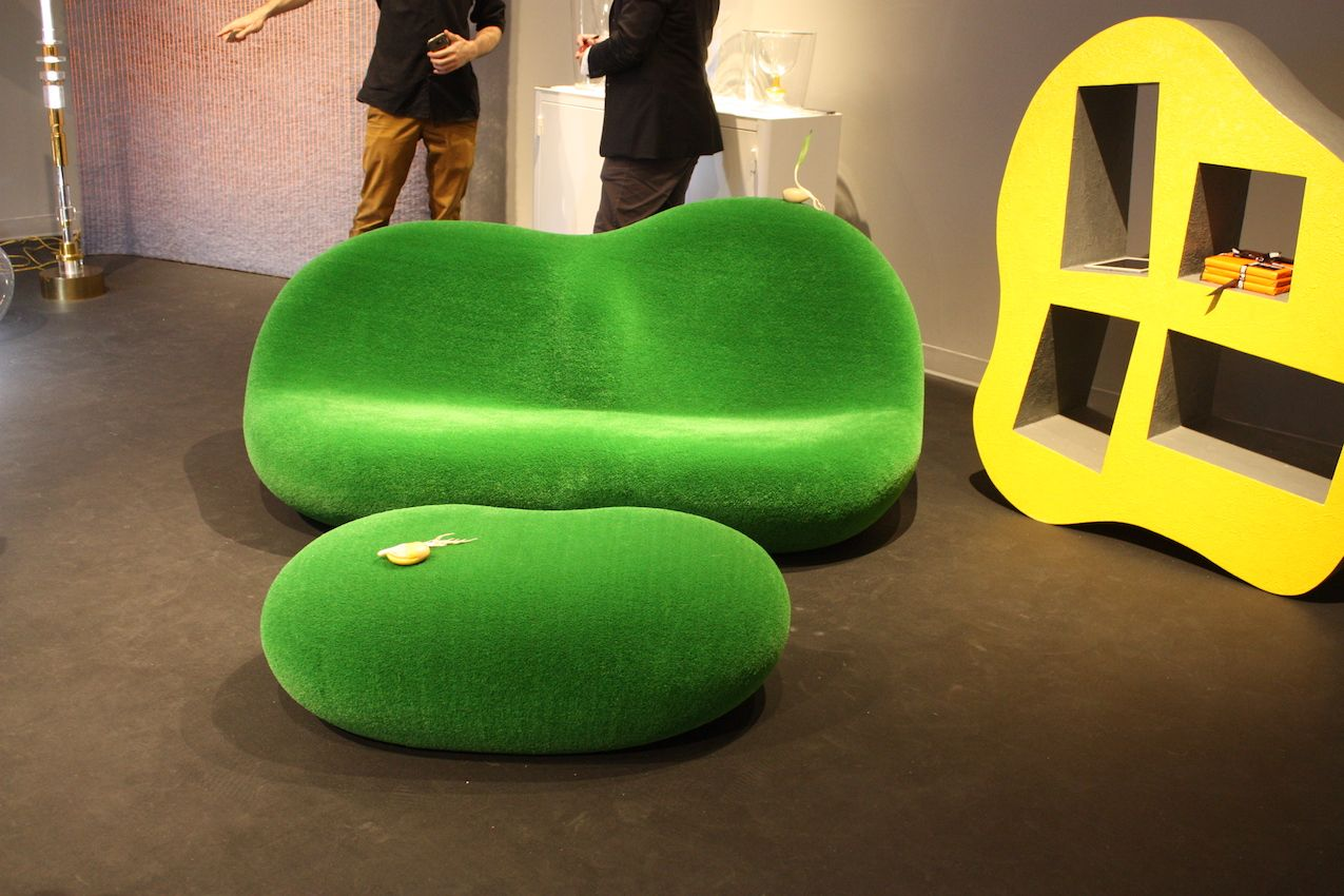 Thanks to the texture of this sofa and ottoman set, it's like sitting in a field of grass