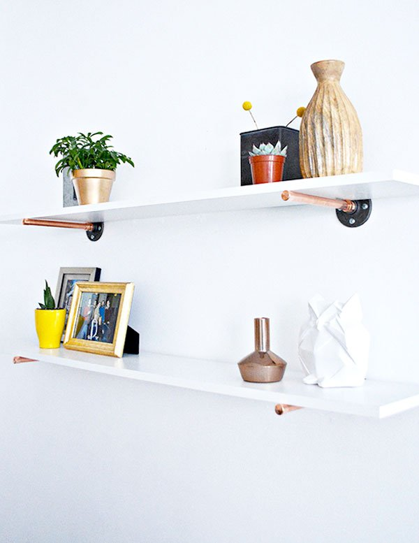 Chic and simple copper peg shelves