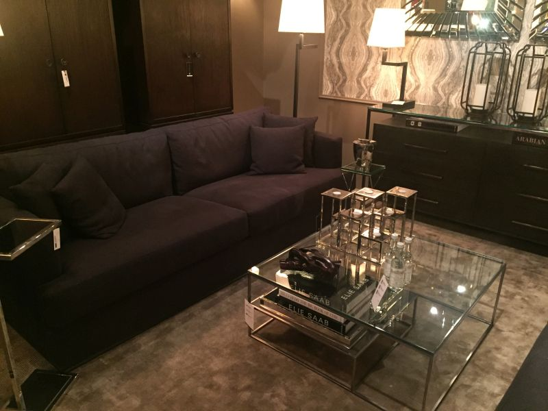 Chrome coffee table with glass top